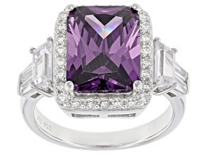 Pre-Owned Purple And White Cubic Zirconia Rhodium Over Sterling Silver Ring 12.10ctw