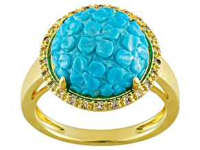 Pre-Owned Turquoise And White Topaz 14k Yellow Gold Over Copper Ring .52ctw