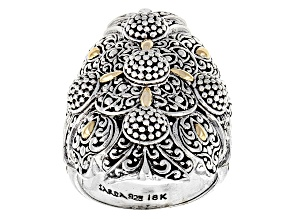 Pre-Owned Sterling Silver And 18kt Gold Accent Filigree Ring