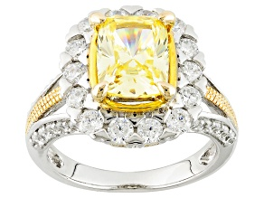 Pre-Owned Yellow And White Cubic Zirconia Rhodium And 18k Yellow Gold Over Silver Ring 5.54ctw