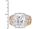 Pre-Owned White Cubic Zirconia Platineve And 18k Rose Gold Over Sterling Silver Ring 8.85ctw
