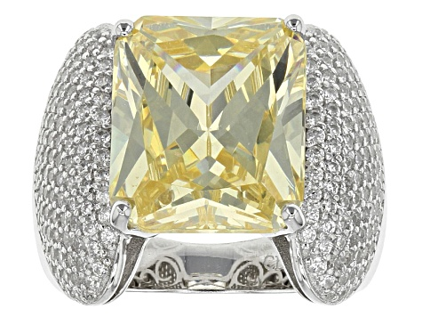Pre-Owned Yellow And White Cubic Zirconia Rhodium Over Sterling Silver Ring 18.10ctw