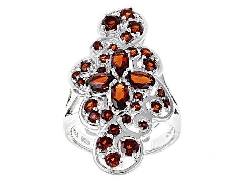 Pre-Owned Red Garnet Sterling Silver Ring 2.80ctw