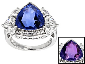 Pre-Owned Color Change Blue Fluorite Sterling Silver Ring 6.39ctw