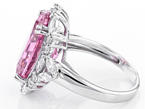 Pre-Owned Pink And White Cubic Zirconia Rhodium Over Sterling Silver Ring 17.80ctw