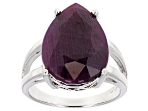 Pre-Owned Red indian Ruby Sterling Silver Solitaire Ring 12.00ct