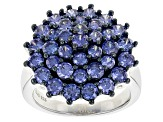 Pre-Owned Blue Cubic Zirconia Silver Ring 5.82ctw