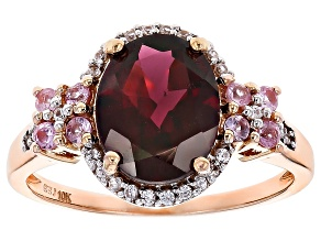 Pre-Owned Grape Color Garnet 10k Rose Gold Ring 3.17ctw