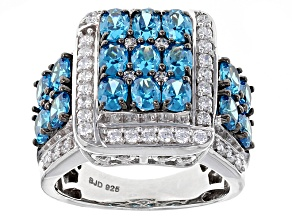 Pre-Owned Blue And White Cubic Zirconia Silver Ring 5.90ctw