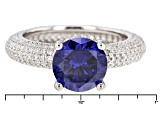 Pre-Owned Blue And White Cubic Zirconia Rhodium Over Sterling Silver Ring 18.64ctw