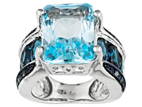 Pre-Owned Women Ring London Blue Topaz Blue Diamond 11ctw Sterling Silver