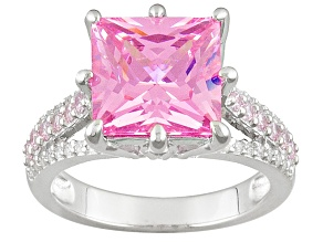Pre-Owned Pink And White Cubic Zirconia Rhodium Over Silver Ring 10.35ctw