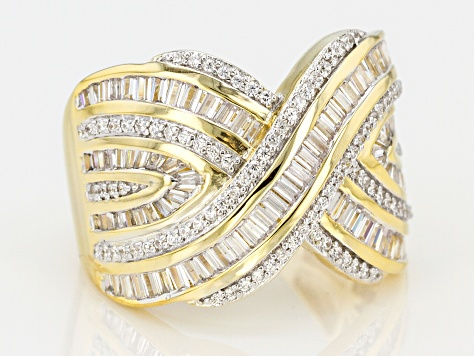 Pre-Owned White Cubic Zirconia 18k Yellow Gold Over Sterling Silver Ring 3.10ctw