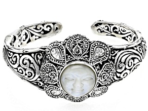 Pre-Owned White Mother Of Pearl Sterling Silver Bracelet