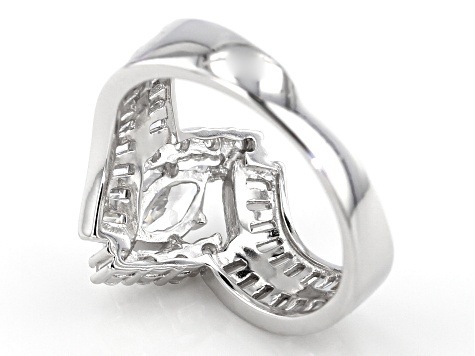 Pre-Owned White Cubic Zirconia Rhodium Over Silver Ring 2 38ctw