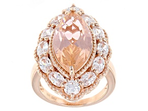Pre-Owned Morganite Simulant And White Cubic Zirconia 18k Rose Gold Over Sterling Silver Ring 7.63ct