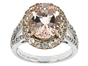 Pre-Owned Pink Morganite Sterling Silver And 14k Rose Gold Ring 5.50ctw