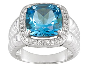 Pre-Owned Sky Blue Topaz Sterling Silver Mens Ring 8.50ctw.