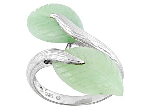 Pre-Owned Green Jadeite Sterling Silver Ring