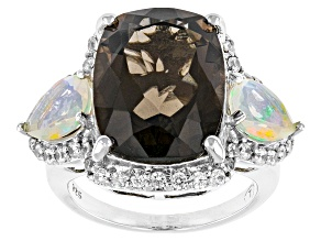 Pre-Owned Brown Smoky Quartz, Ethiopian Opal And White Zircon Sterling Silver Ring 11.51ctw