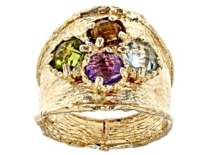 Pre-Owned Amethyst Yellow Quartz Peridot Blue Topaz 14k Yellow Gold Ring 1.60ctw
