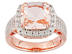 Pre-Owned Morganite Simulant And White Cubic Zirconia 18k Rose Gold Over Sterling Ring 4.09ctw