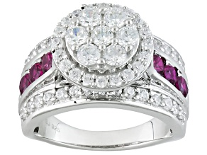 Pre-Owned Synthetic Red Corundum And White Cubic Zirconia Silver Ring 3.43ctw