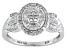 Pre-Owned Womens Oval Cluster Ring Genuine Diamond .50ctw Sterling Silver