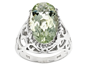 Pre-Owned Green Brazilian Prasiolite Sterling Silver Ring 6.74ct