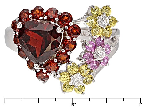 Pre-Owned Red Garnet Sterling Silver Heart Ring 3.78ctw