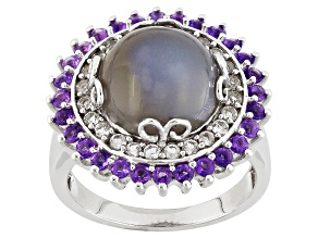 Pre-Owned Grey Moonstone Sterling Silver Ring .84ctw