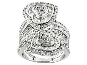 Pre-Owned Diamond 1.50ctw Baguette, And Round, Rhodium Over Sterling Silver Bypass Heart Ring