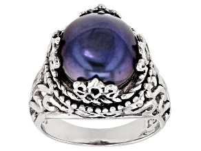 Pre-Owned Grande Black Cultured Freshwater Pearl Sterling Silver Scalloped Ring