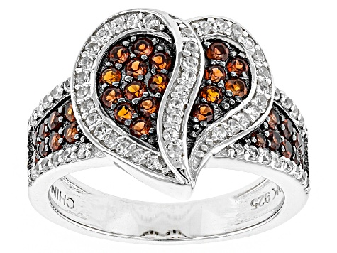 Pre-Owned Red Garnet Sterling Silver Heart Ring .78ctw