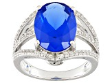Pre-Owned Blue Lab Created Spinel Sterling Silver Ring 5.32ctw