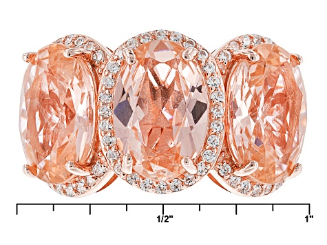Pre-Owned Morganite Simulant And White Cubic Zirconia 18k Rose Gold Over Sterling Silver Ring 8.25ct