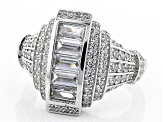 Pre-Owned White Cubic Zirconia Rhodium Over Sterling Silver Ring 2.81ctw