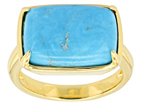 Pre-Owned Turquoise 18k Yellow Gold Over Brass Ring.