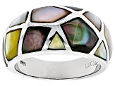 Pre-Owned Multicolor Mother Of Pearl Rhodium Over Sterling Silver Ring