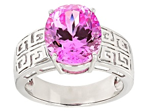 Pre-Owned Pink Lab Created Sapphire Sterling Silver Ring 6.16ct