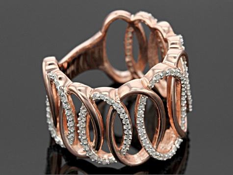 Pre-Owned 14k Rose Gold Over Sterling Silver Diamond Ring .40ctw
