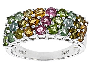 Pre-Owned Multi-Color Tourmaline Sterling Silver Band Ring 1.89ctw