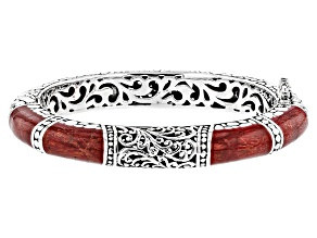 Pre-Owned Red Indonesian Coral Silver Bracelet