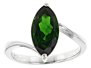 Pre-Owned Green Chrome Diopside Sterling Silver Solitaire Ring 2.55ct