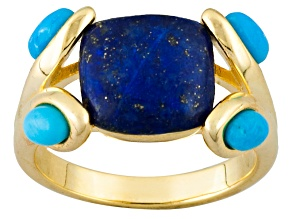 Pre-Owned Turquoise And Lapis 18k Yellow Gold Over Brass Ring