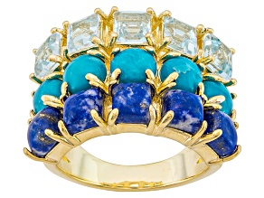 Pre-Owned Turquoise, Lapis And Blue Topaz 18k Yellow Gold Over Brass Ring