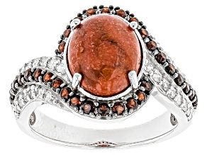 Pre-Owned Red Sponge Coral Sterling Silver Ring 1.05ctw