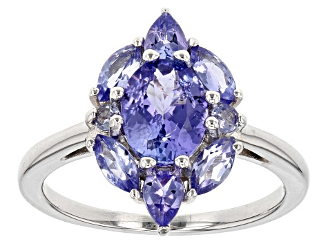 Pre-Owned Blue tanzanite sterling silver ring 1.99ctw