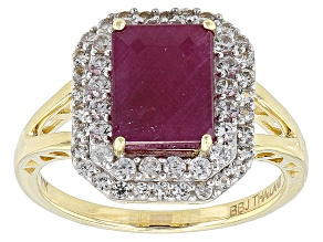 Pre-Owned Red Ruby 10k Yellow Gold Ring 3.18ctw