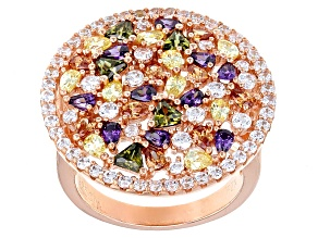 Pre-Owned White, Purple, Yellow, Brown, Green Cubic Zirconia 18k Rg Over Sterling Silver Ring 8.88ct
